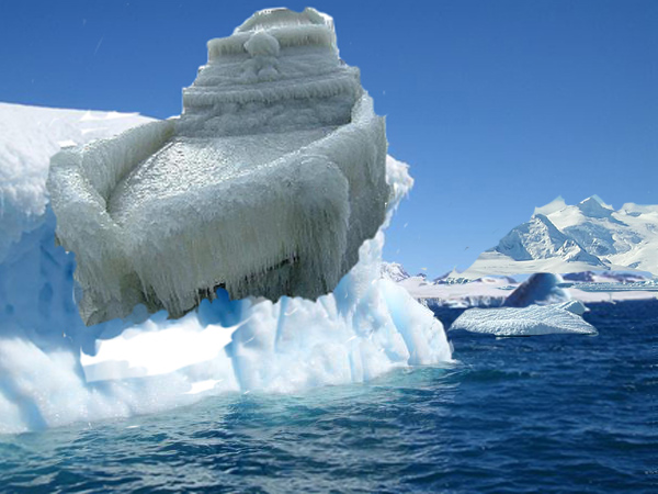 نتيجة بحث الصور عن ‪a frozen ship     strange things found frozen in Ice Antarctica‬‏