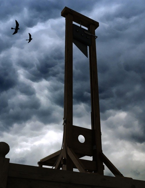 HEADS UP: The guillotine remains a symbol of terror.