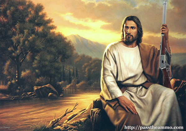 JESUS bring peace with the help of a firearm is beautifully captured in this painting from the website.