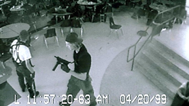 EVIL punks massacred classmates in cafeteria of Columbine High School.