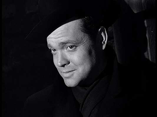 "Orson Welles as Harry Lime was wicked yet irresistably charming in the film noir classic ""The Third Man."""