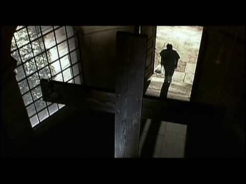 """ZOMBIE PRIEST played by Tony Sedgwick in """"28 Days Later"""" (2002). Mild-mannered bicycle messenger Jim awakens from a coma to find London is besieged by zombies—worse still, fast ones—and he takes in a church. An ominous sign is that the words """"The End is Extremely F---ing Nigh"""" are scrawled on the wall. Jim is relieved when a priest emerges—until the infected clergymen tries to eat him alive."""