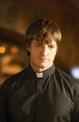 "CALEB, played by Nathan Fillion in ""Buffy the Vampire Slayer"" (Season 7, 2003).  Before handsome Nathan made female viewers hearts flutter as Capt. Mal in ""Firefly,"" he terrified them as this sadistic sociopath with a pathological hatred of women. A defrocked priest, Caleb was chosen by the non-corporeal First Evil to lead its campaign to destroy humanity. Able to channel its power, he possesses immense physical strength and is seemingly indestructible; making him one of Buffy's the most dangerous adversaries. The folksy, scripture-quoting madman has a real mean streak, gratuitously gouging out the eye of funny-guy Zander. Here he cuts short the career of a wannabe Slayer."