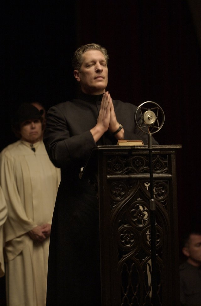 "BROTHER JUSTIN CROWE, played by Clancy Brown in ""Carnivale"" (HBO, 2003-5): Powerfully built Brown has portrayed some frightening villains, most memorably The Kurgan in ""Highlander."" Here he's a fiendish, supernatural version of Father Coughlin, the hate-mongering Depression-era radio preacher. Brother Justin has the power to bring people's sins and darkest desires to life in horrifying visions. He uses his radio show to brainwash the masses to do his bidding. But the Dust Bowl devil is not above resorting to physical means, mowing down uncooperative folks with a scythe."