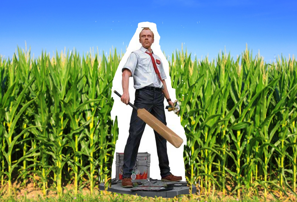 CARDBOARD cutouts like this one in an Iowa cornfield are used to ward off zombies and protect crops.