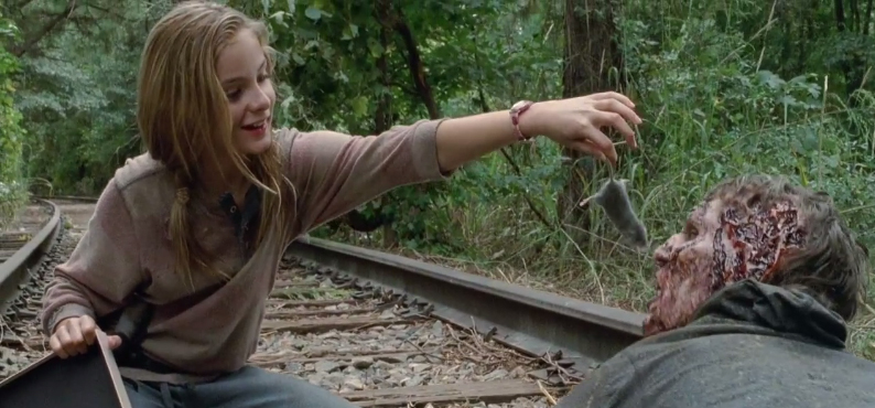 """No thanks. Have any walnuts?"" Real zombies do not eat rats, contrary to this scene in The Walking Dead."