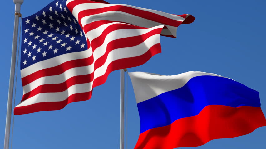 Russian American flags